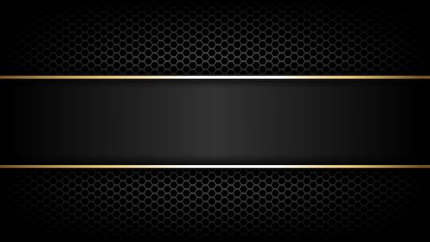 Trama di fibra di carbonio e sfondo linea oro