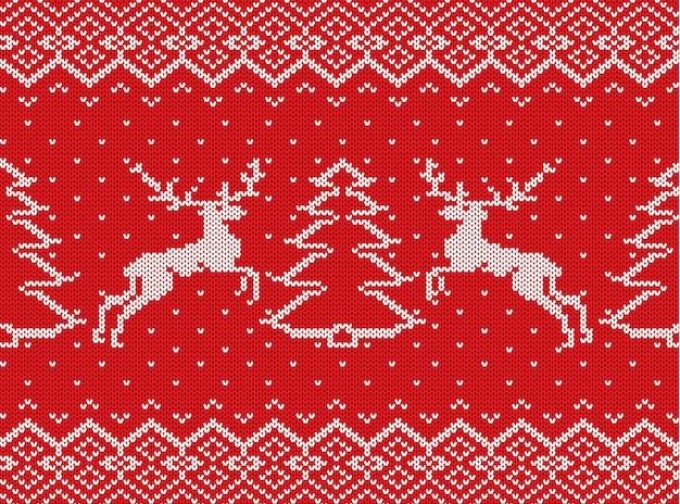 Trama di natale a maglia con cervi, alberi di natale e ornamento geometrico
