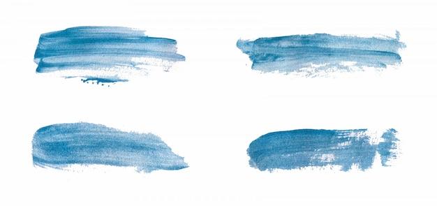 Trama di pennello tratto di pennello blu. lavaggi ad acquerelli astratti.