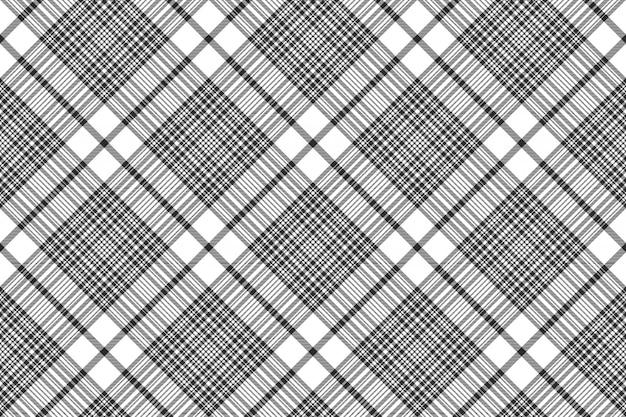 Trama di tessuto senza cuciture plaid check bianco e nero