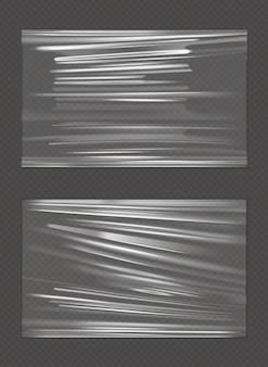 Trama piegata stropicciata striscione di cellophane allungato