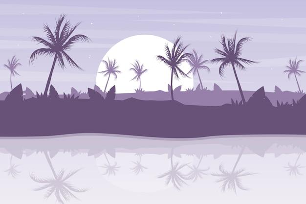 Tramonto con palme paesaggio sfondo