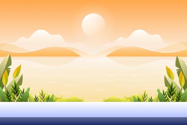 Tramonto di paesaggio con la vista del mare, illustrazione del paesaggio di vista del mare