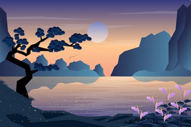 Tramonto di sera di paesaggio con il fondo della montagna e del giardino