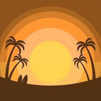 Tramonto estivo semplificato al mare con silhouette di palme da cocco e tavole da surf sulla spiaggia