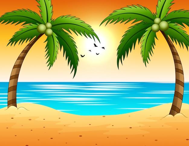 Tramonto sul mare con vista sulla spiaggia