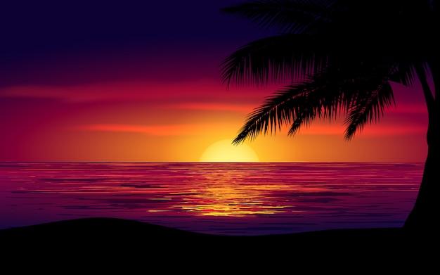 Tramonto variopinto del cielo in mare con una palma