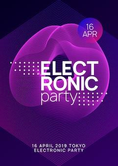 Trance party dj neon flyer sound fest.