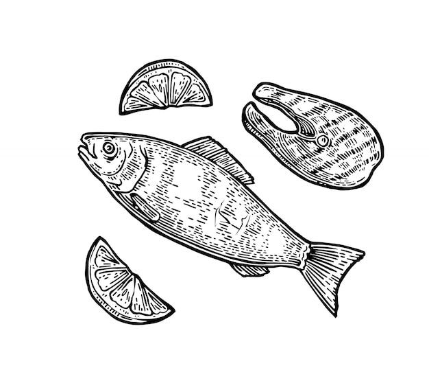 Trancio di pesce alla griglia con vista dall'alto di limone.
