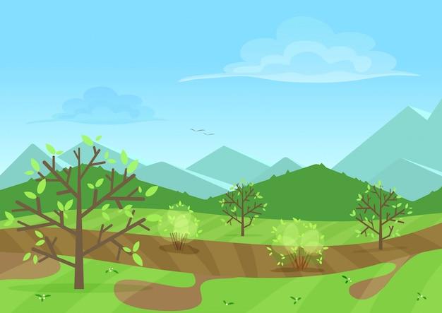 Tranquillo paesaggio verde con montagne