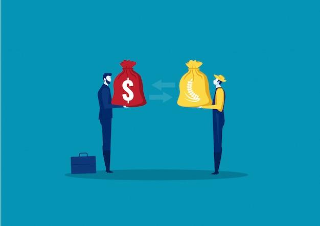 Transazione dell'uomo d'affari dei raccolti di vendita