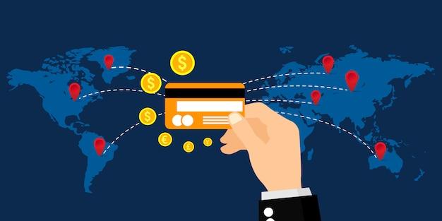 Transazione di denaro con una carta di credito in tutto il mondo, affari, servizi bancari online e pagamenti online. illustrazione.