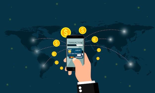 Transazione di denaro in tutto il mondo.
