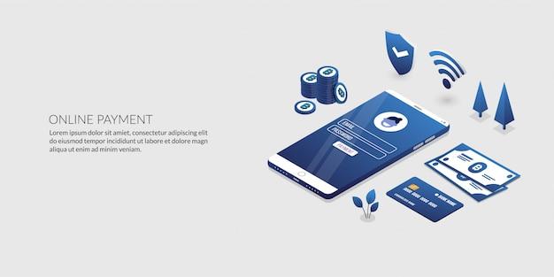 Transazione di sicurezza di pagamento online, banking internet isometrico