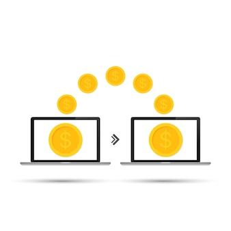 Transazione di trasferimento di denaro tra laptop del dispositivo. concetto di pagamento online
