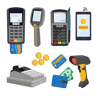 Transazione elettronica e elaborazione del trasferimento con illustrazione di carte o smartphone