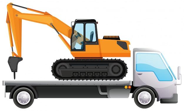 Trapano di trasporto del camion su bianco