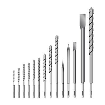Trapano metallico dettagliato 3d realistico per utensili per punte da trapano o perforatore