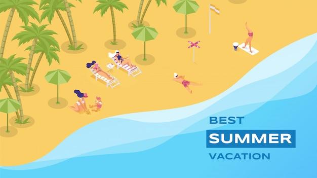 Trascorrere le vacanze estive sulla spiaggia dell'isola. destinazione del turismo di lusso per famiglia e amici