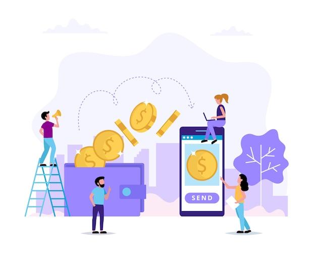 Trasferimento di denaro, invio di denaro dal portafoglio allo smartphone.
