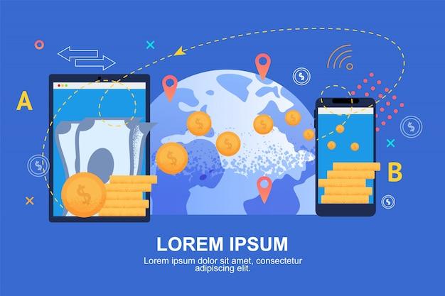 Trasferimento di denaro mobile. valuta globale dei soldi.