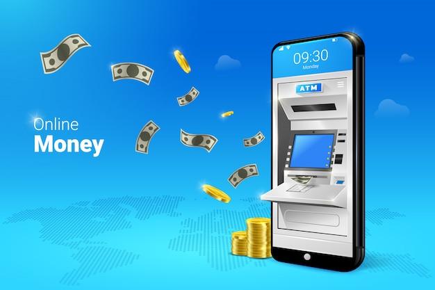 Trasferimento di denaro o bancomat mobile con l'illustrazione dei soldi di caduta.