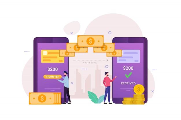 Trasferimento di denaro online con mobile banking