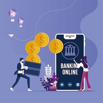 Trasferimento di denaro online, concetto di pagamenti mobili con smartphone e portafoglio