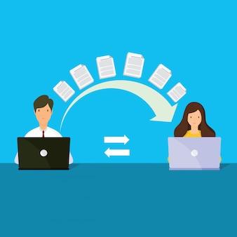 Trasferimento di file. due cartelle sullo schermo e documenti trasferiti.