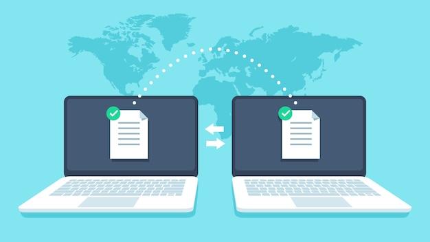 Trasferimento file di notebook. trasmissione dati, ricevitore file ftp e copia di backup del computer portatile. condivisione di documenti concetto vettoriale