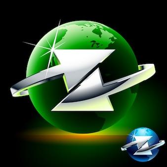 Trasferimento o scambio. il simbolo astratto con le frecce si è spostato del globo verde