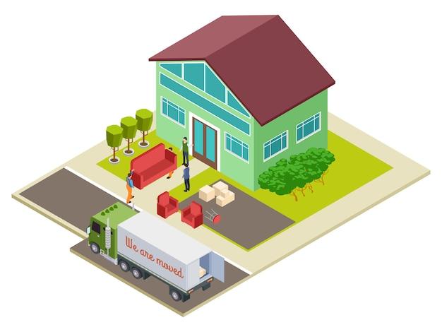 Trasferirsi in una nuova casa, illustrazione isometrica di consegna mobili