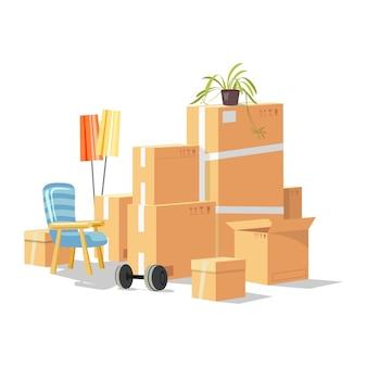 Trasferirsi in una nuova casa, stanza, appartamento con mobili per la casa, cose in scatole di cartone, piante.