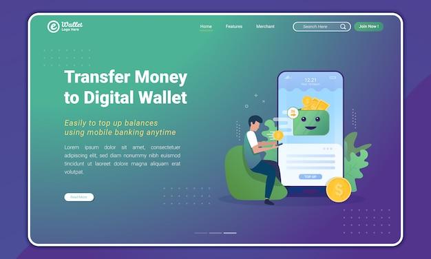 Trasferisci denaro tramite mobile banking all'applicazione e-wallet sul modello della pagina di destinazione