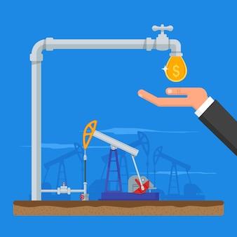 Trasforma il petrolio in concetto di denaro. ottieni denaro dalla pipa. pompe del carburante. illustrazione in stile piatto. benzina e industria del gas