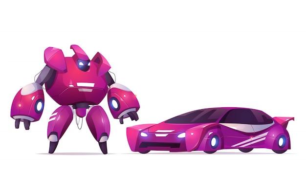 Trasformatore robot e auto sportiva, robotica e tecnologie di intelligenza artificiale cyborg, personaggio militare esoscheletro da combattimento, battaglia aliena guerriero cibernetico giocattolo per bambini, fumetto illustrazione vettoriale