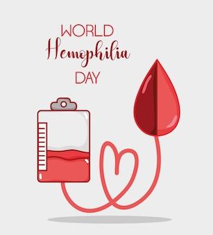 Trasfusione di sangue con goccia di sangue al trattamento di emofilia
