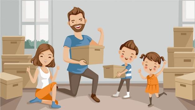 Trasloco. famiglia in movimento di imballaggio e disimballaggio scatole.