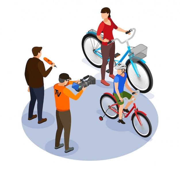 Trasmissione del concetto di progetto isometrico con cameraman e commentatore che fa domande ai passanti sull'illustrazione di vettore della via