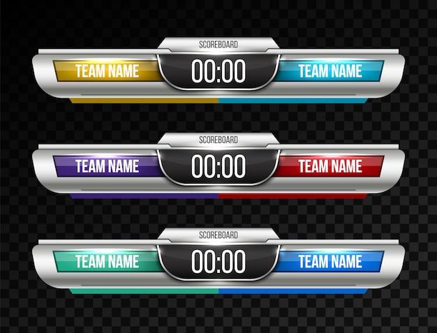 Trasmissione sportiva di tabelloni digitali
