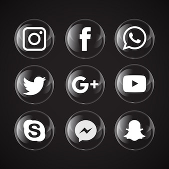 Trasparente bolle social media icone