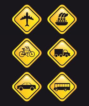 Trasporta i segnali su sfondo nero illustrazione vettoriale