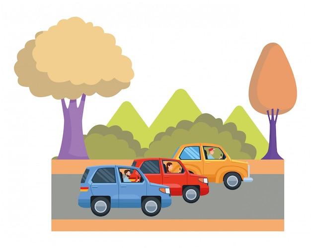 Trasporti e veicoli in sella a cartoni animati