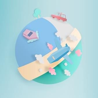 Trasporti in tutto il mondo in stile arte cartacea