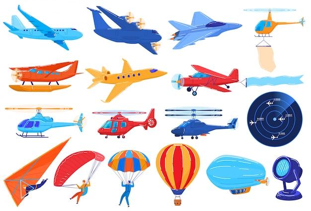 Trasporto aereo su bianco, insieme di aerei ed elicotteri nello stile del fumetto, illustrazione