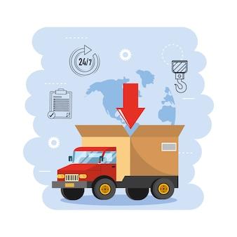 Trasporto camion con distribuzione pacchi di scatole