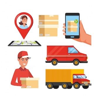 Trasporto di camion con mappa globale e cartelli di localizzazione