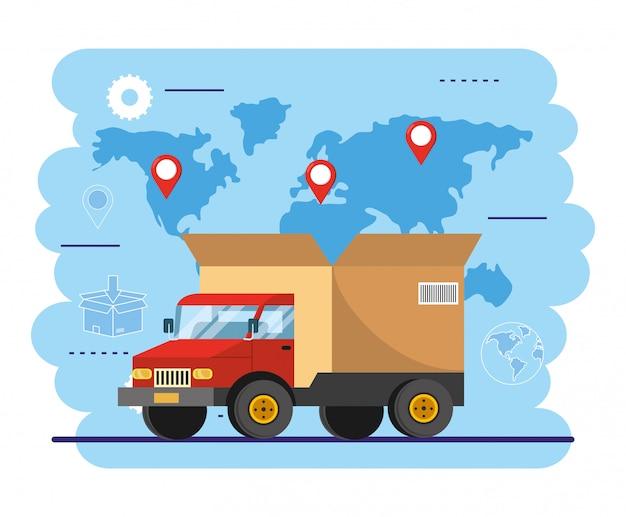 Trasporto di camion con pacco di scatole per il servizio di consegna