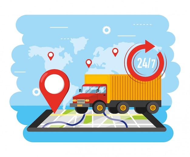 Trasporto di camion con posizione gps per smartphone