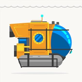 Trasporto di ricerca sul mare sottomarino giallo